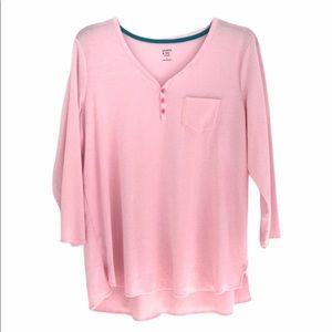 CROWN & IVY Pajama Top Sleepwear Shirt Pink